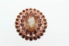 925 Rose Vermeil Sunstone /Rhodolite/Garnet Ring(5.90 cts)