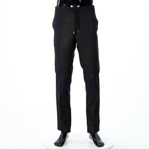 BRIONI 950$ Black Virgin Wool Dress Pants / Trousers With Drawstring