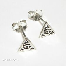 Solid 925 Silver Stud Earrings ILLUMINATI EYE/ALL SEEING EYE New with Gift Bag