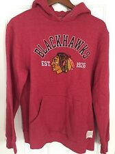 Chicago Blackhawks Retro Brand Red Triblend Fleece Pullover Hoodie Mens Medium M