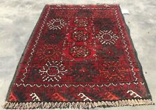 Authentic Hand Knotted Vintage Afghan Turkmon Wool Area Rug 2 x 2 Ft (9525 Bn)