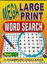 WORDSEARCH PUZZLE BOOK MEGA LARGE PRINT BOOK 1 - BUY ANY 2 GET ANY 1 FREE