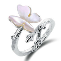 Handmade Pink Butterfly Shell Ring Solid 925 Sterling Silver Jewelry for Women