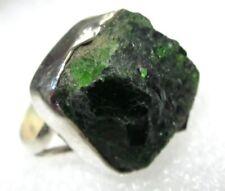 ECHTER TSAVORIT Rohstein Ring Gr18 925 Silber 18x17x11mm
