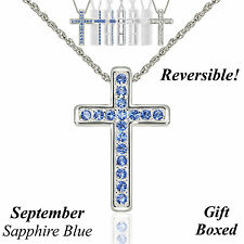 "Reversible Silver Austrian Crystal Birthstone Cross Necklace 18"" Adj Chain - Sep"