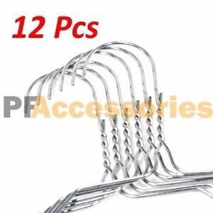 "12 Pcs 16"" inch Steel Metal Wire Clothes Hangers 13 Gauge Silver LOT"