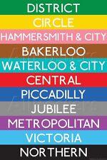 London Underground Tube Lines Travel Poster  - 24x36