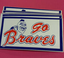 "1 Vintage ATLANTA BRAVES ""GO BRAVES"" Bumper Stickers NOS '80's Unused,Unpeeled"