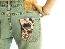 CHRISTIAN AUDIGIER Russell Luxury Designer Womens Decorative Bootcut Skull Jeans