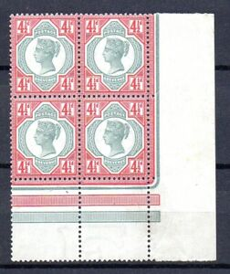 GB QV SG206 41/2d Green and Carmine Block of Four Fine Unmounted Mint/MNH