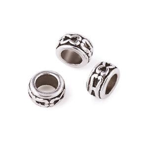 100xTibetan Silver European Large Hole Rondelle Beads Metal Spacer Craft 7x3.5mm
