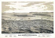 "20x30"" CANVAS Decor.Room art print.San Diego Aerial view map.Bird eye.5997"