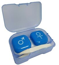 Blue M/F Symbol Contact Lens Storage Case + Tweezers - Travel Kit