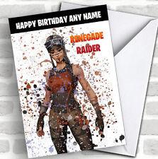 Splatter Art Gaming Renegade Raider Kid's Children's Personalised Birthday Card