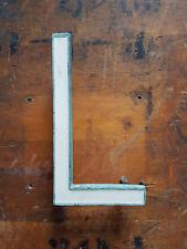 """Vintage bronze & white enamel 6"""" shop sign letter L -Great verdigris patina"""