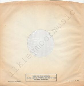 """Vintage INNER SLEEVE or SLEEVES 12"""" POLYDOR lined v03 PLASTIC BAGS poly x 1"""