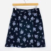 Vintage 90s Suzanne Grae A-Line Skirt Floral Rose Black Grunge Size 14 fit 10