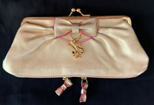 JUICY COUTURE GOLD LEATHER KISS LOCK WALLET PURSE PREOWNED