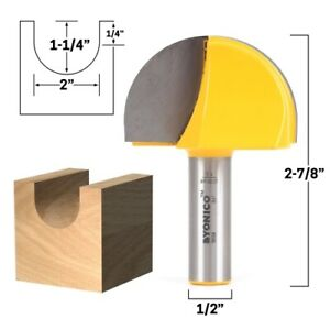 "2"" Diameter Core Box Router Bit - 1/2"" Shank - Yonico 19109"