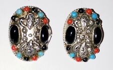 Turquoise, coral & onyx scarab sterling clip earrings vintage native American