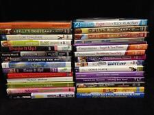 Lot: 32 FITNESS & WORKOUT DVDs, Pilates, Latin Dance, Yoga, Ball, Jillian...