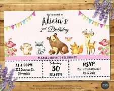 WOODLAND INVITATIONS FOREST ANIMALS UNISEX ANY AGE FIRST BIRTHDAY PARTY INVITES