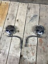 Willie G Style Skull Rear View Motorcycle Mirrors Harley Bobber Chopper