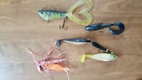 RUBBER TAIL MUSKIE MUSKY STRIPER FISHING LURE CRANK BAIT BUTCHER TAIL