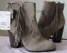 H&M Taupe Suede Fringe Ankle Boots - Sz US 5.5/EUR36 (NWT)