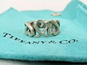 Tiffany & Co. Paloma Picasso Sterling Silver 925 Hearts Intertwined Ring SZ 4