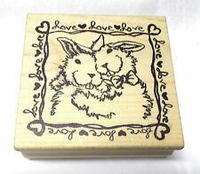Magenta Bunny Love frame rubber stamp Hearts rabbits Easter Valentines Holidays