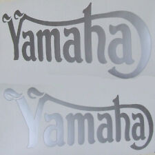 2 x YAMAHA cafe racer style SILVER motorcycle tank decals stickers..type 2