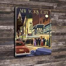 """Escena de teatro de Nueva York Wall Art Deco Lona Impresa A1.30""""x20"""" 30 mm Marco Profundo"""