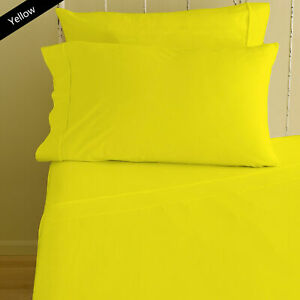 Yellow Solid Hotel 4 PCs Sheet Set 1000 Thread Count Double Size