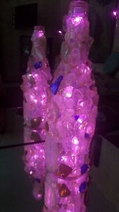 Beautiful Unique Hand Crafted Seaglass Wine Bottle free Pink or white Lights