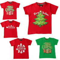 Kids Boys Girls Christmas Xmas T Shirt Tree 100% Cotton Red NEW