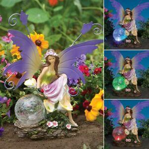 Solar Lighted Crackled Glass Gazing Globe w/ Delicate Fairy Maiden Garden Statue