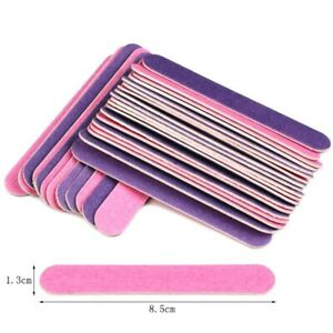 100Pcs Double Sided Wood Nail Files Manicure Pedicure Sanding Disposable Tools