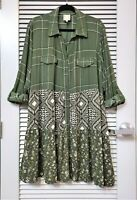 green plaid floral roll-up slev tunic shirt dress 2XL w/ anthropologie earrings