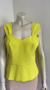 Review Sleeveless Peplum Fully Lined Yellow Career Blouse Size 14