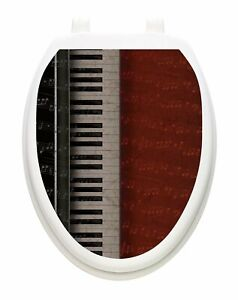 Toilet Tattoo Vinyl Lid Cover Removable Reusable Piano Key Notes USA