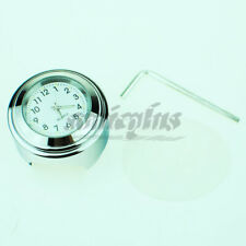 "Waterproof 7/8"" 1"" Motorcycle Handlebar Clock White Dial Chrome Plated Bar Mount"