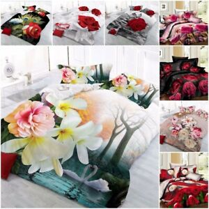 3D Duvet Cover set with Pillow Cases & Printed Fitted Sheet Single Double King