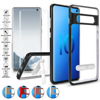 For Samsung Galaxy S10/S10 Plus TPU Kickstand Hybrid Case+Glass Screen Protector