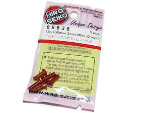 Hiro Seiko 69636 AE B6.1 B64 T6.1 3 x 8mm ORANGE Alloy Button Head Screws