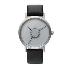 "Projects Watches ""Nadir Steel"" Acciaio Inox IP Nero Grigio Pelle Orologio Unisex"