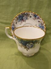 Royal Albert English Bone China RARE Moonlight Rose Blue & Gold Cup & Saucer Set