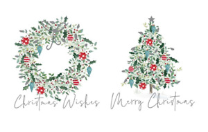 Contemporary Wreath & Tree Christmas Greeting Cards - 2 Designs - Pack of 12