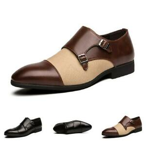 Pointed Men Toe Dress Shoes Business Buckle Nightclub Party Formal Leather Shoes