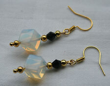 Unique handmade opalite cubs & black crystal gold plated earrings + stoppers